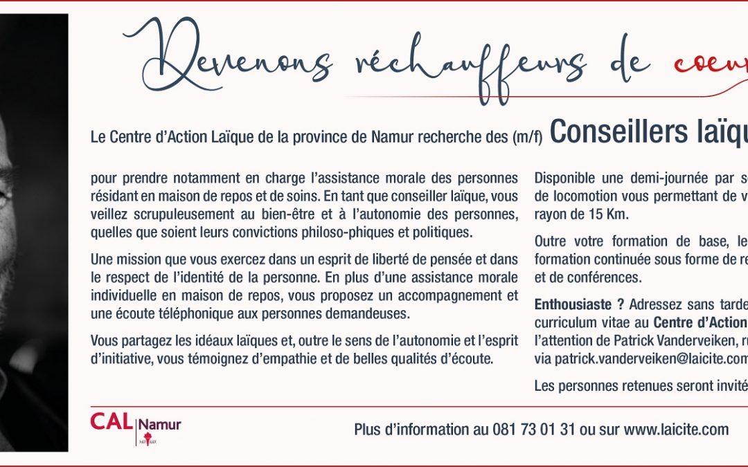 Le Centre d'Action Laïque de la province de Namur recherche des (m/n) Conseillers laïques bénévoles